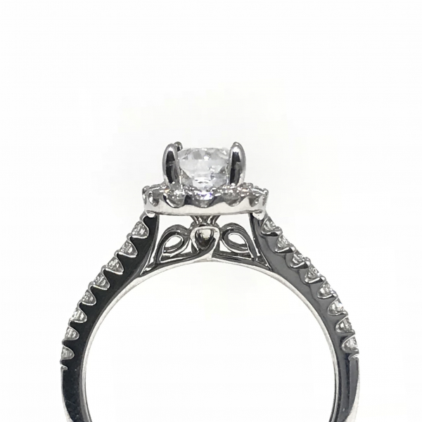 Engagement Rings - Oval Halo Semi Mount  - image #3