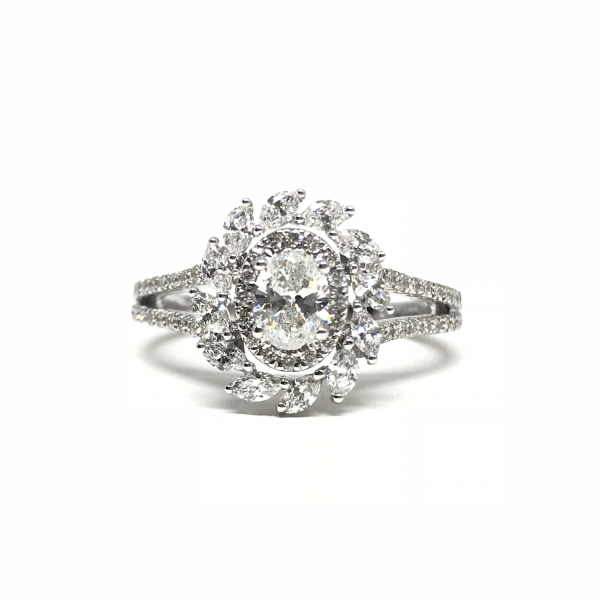 Engagement Rings - Oval Halo Marqouise Engagement Ring