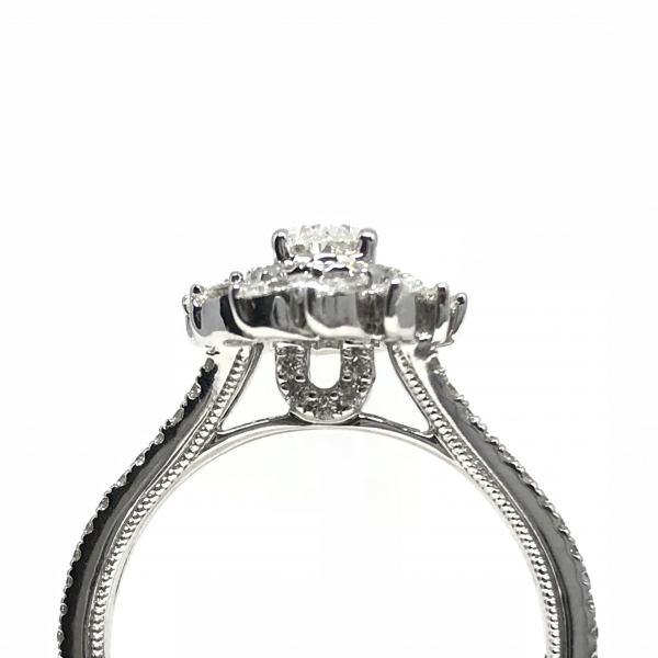 Engagement Rings - Oval Halo Marqouise Engagement Ring  - image #2