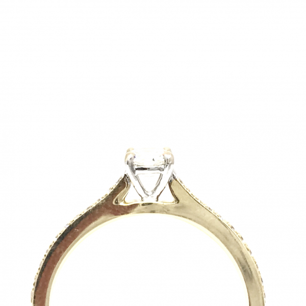 Engagement Rings - Yellow Gold Round Diamond Engagement Ring  - image #2