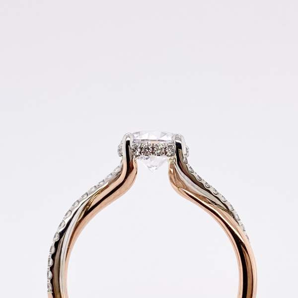 Engagement Rings - Rose Gold Twisted Diamond Engagement Ring - image #2