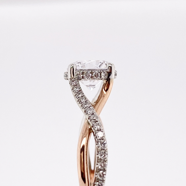 Engagement Rings - Rose Gold Twisted Diamond Engagement Ring - image 3