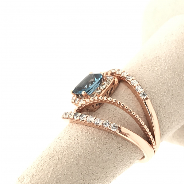 Fine Jewelry - Rose Gold Blue Topaz Diamond Ring - image #2