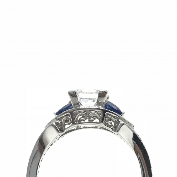 Engagement Rings - Princess Cut Sapphire Semi-Mount Ring  - image #2