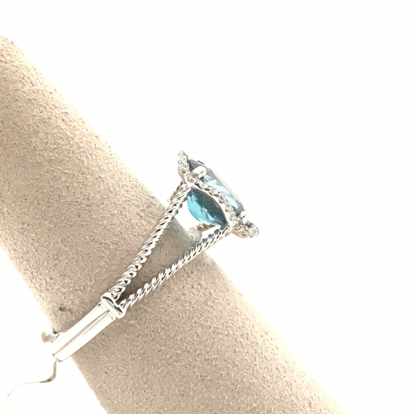 Fine Jewelry - Oval Blue Topaz Diamond Ring - image #2