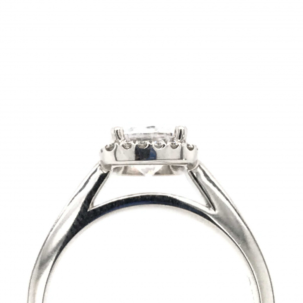 Engagement Rings - Round Engagement Ring with a Halo and Princess Cut Sides Stones - image 2