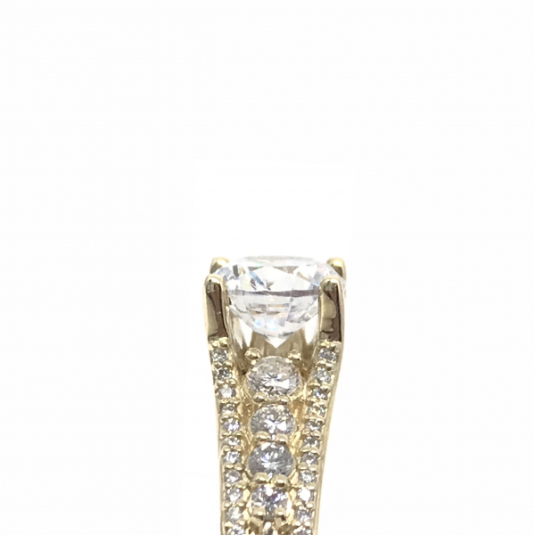 Engagement Rings - Yellow Gold Round Semi-Mount Setting  - image #2