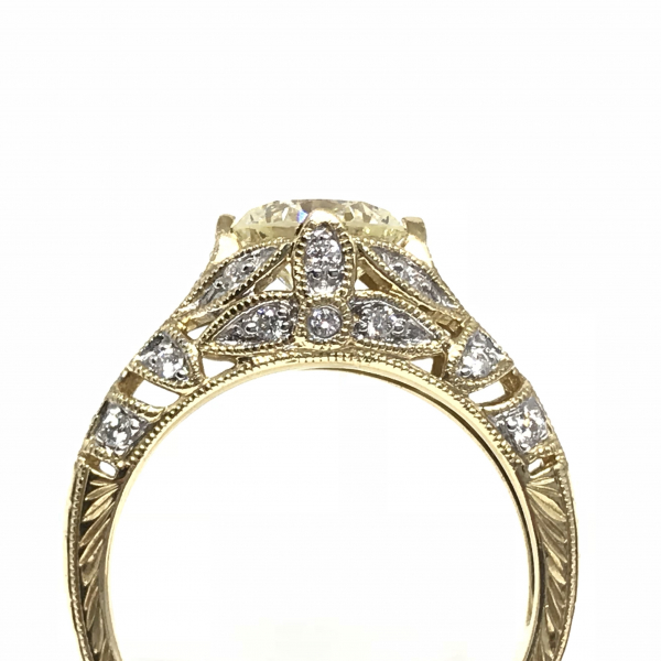 Engagement Rings - Antique Round Diamond Engagement Ring  - image #2