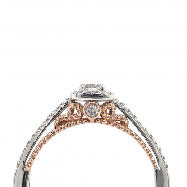 Engagement Rings - Round Center with Princess Halo Enagagement Ring  - image #2