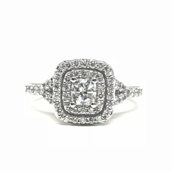 Engagement Rings - Cushion Cut Double Halo Engagement Ring