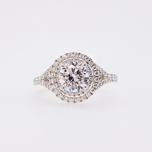 Engagement Rings - Double Halo Diamond Engagement Ring