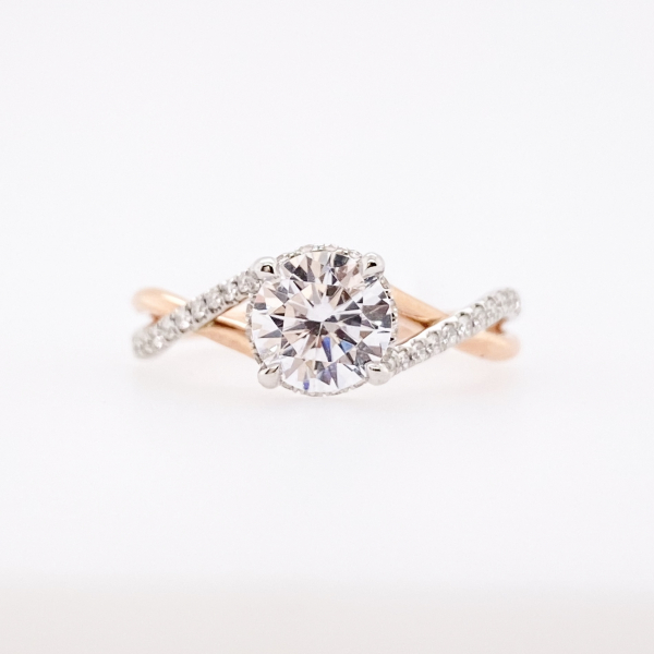 Engagement Rings - Rose Gold Twisted Diamond Engagement Ring
