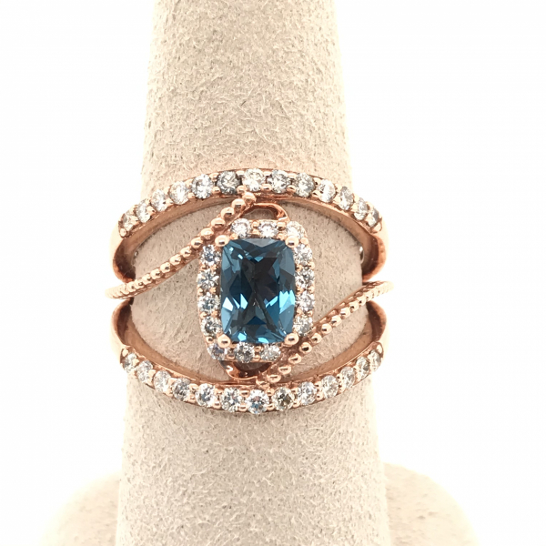 Fine Jewelry - Rose Gold Blue Topaz Diamond Ring