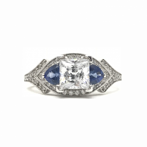 Engagement Rings - Princess Cut Sapphire Semi-Mount Ring