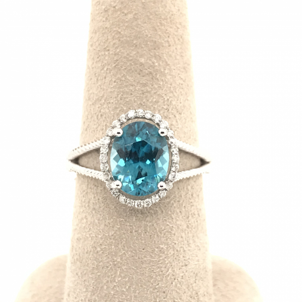 Fine Jewelry - Oval Blue Topaz Diamond Ring