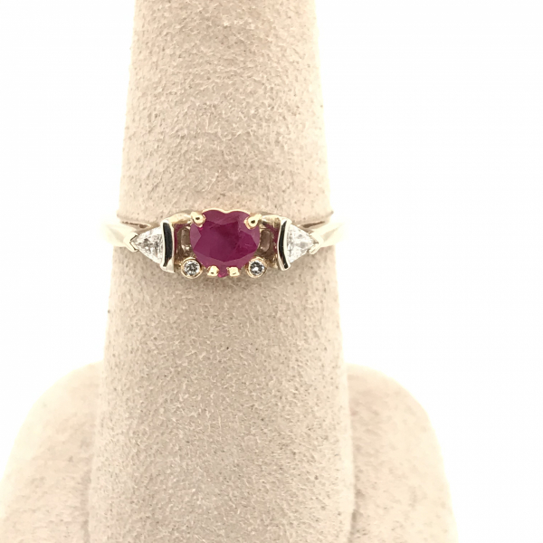 Fine Jewelry - Heart Shaped Ruby and Diamond Ring