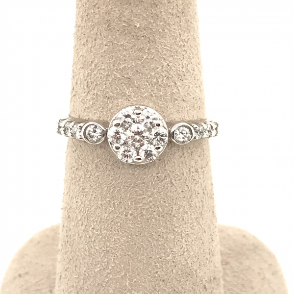 Engagement Rings - Round Cluster Diamond Engagement Ring