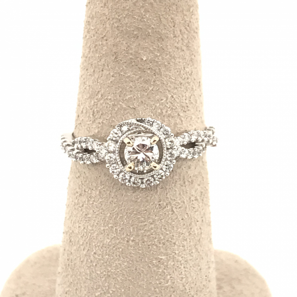 Engagement Rings - Round Diamond Engagement Ring with Twisted Band